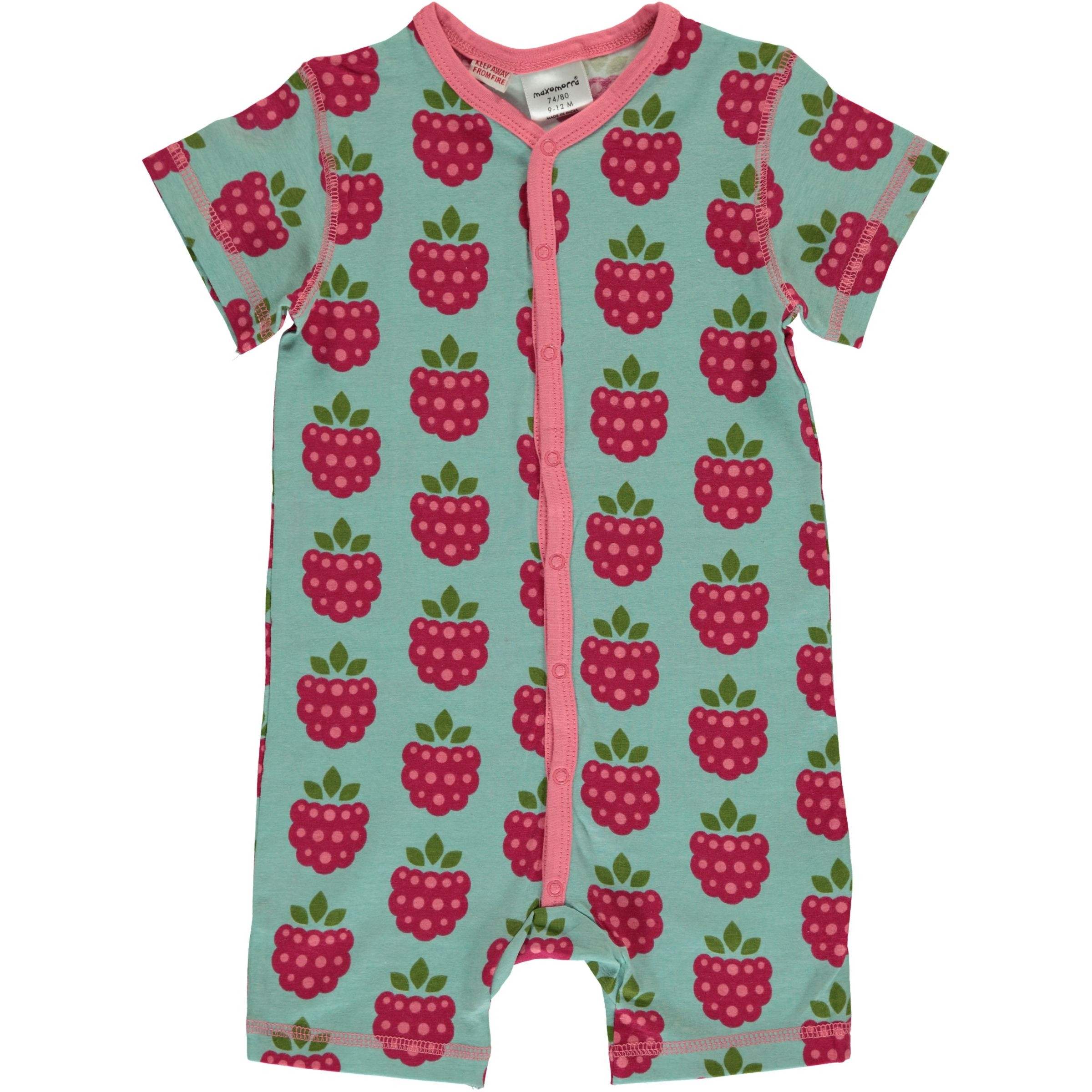 Maxomorra Raspberry Rompersuit Short Sleeved
