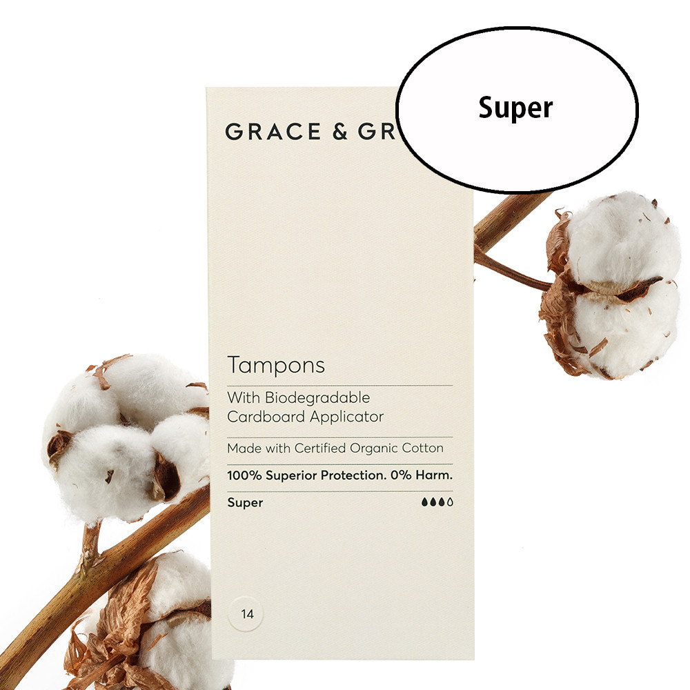 Grace & Green Organic Cotton Applicator Tampons Super (14 in Box)