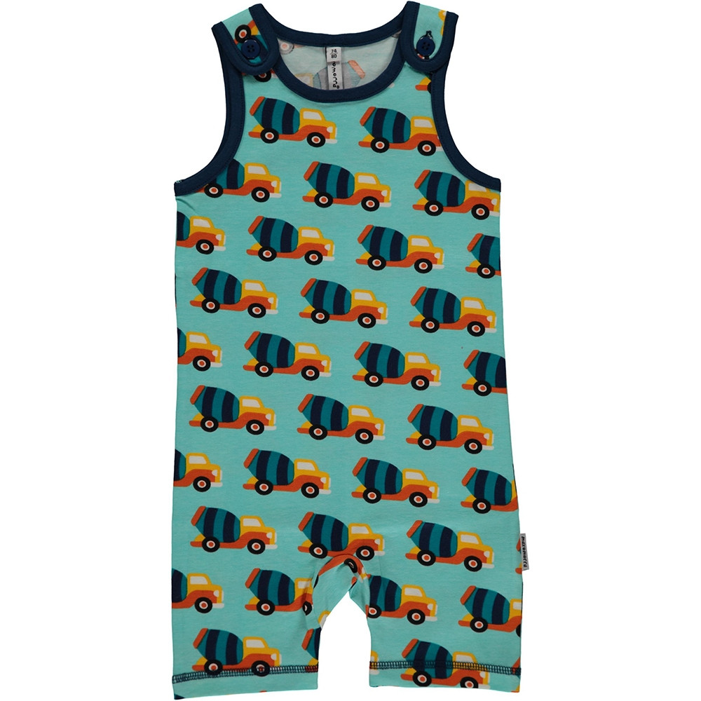 Maxomorra Cement Truck Playsuit Short Sleeved