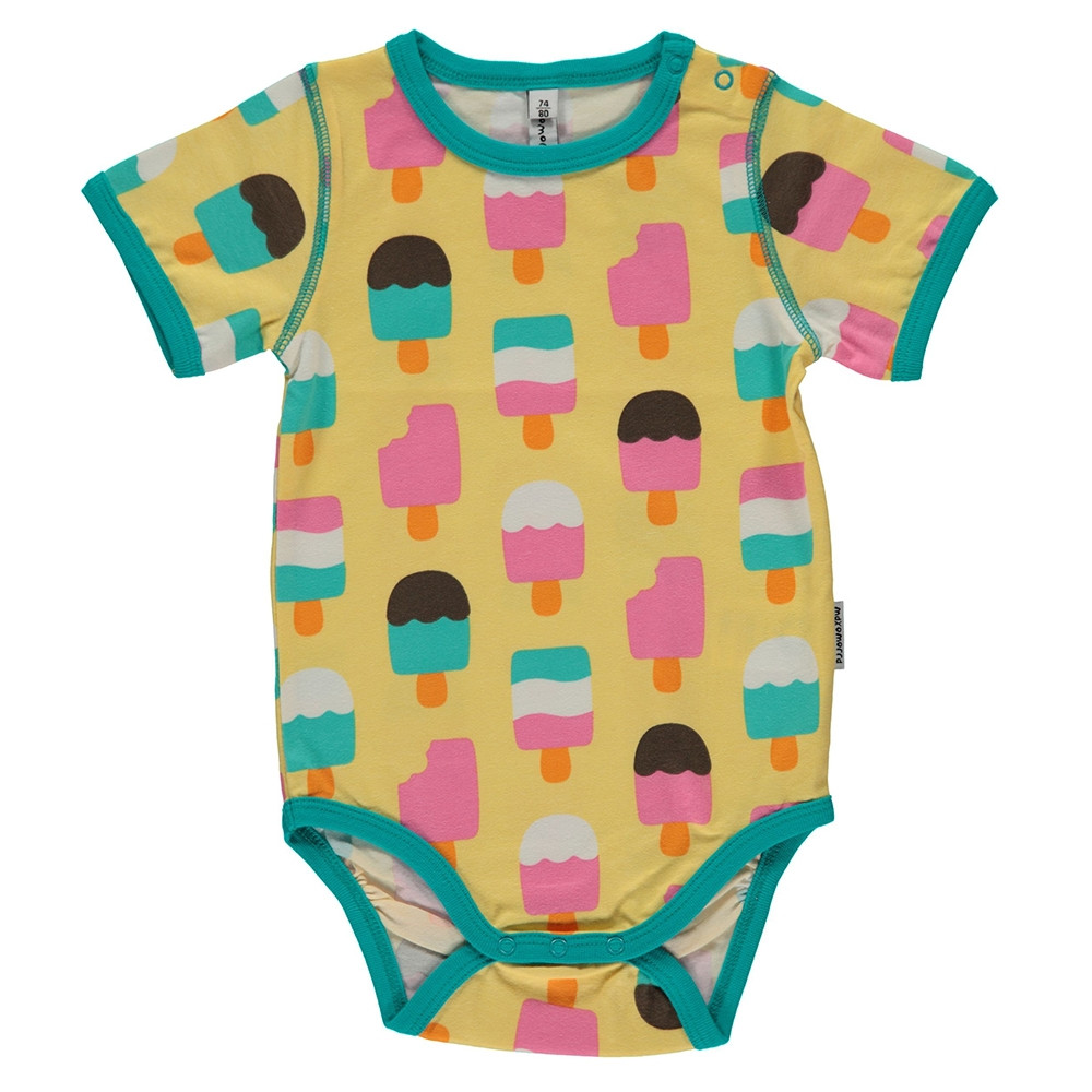 Maxomorra Ice Cream Yellow Bodysuit Short Sleeved