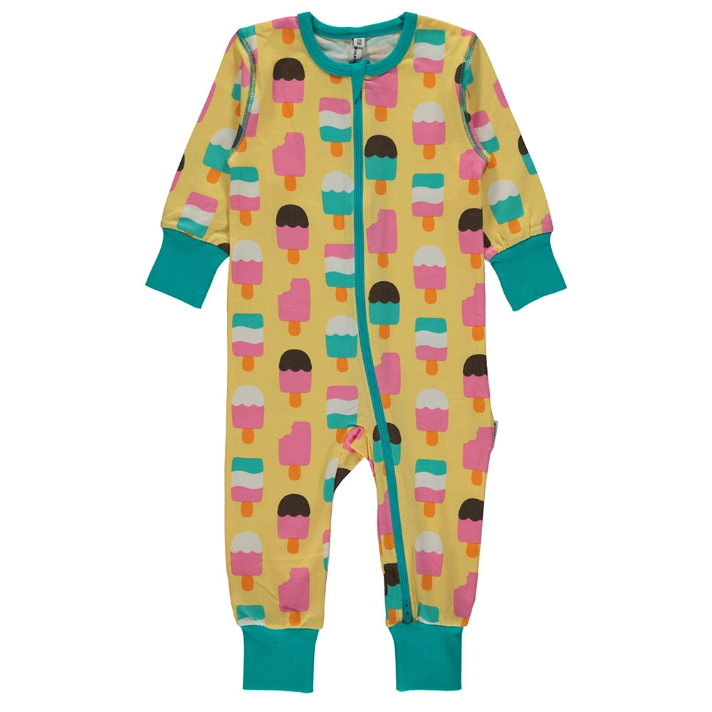 Maxomorra Ice Cream Yellow Rompersuit Long Sleeved