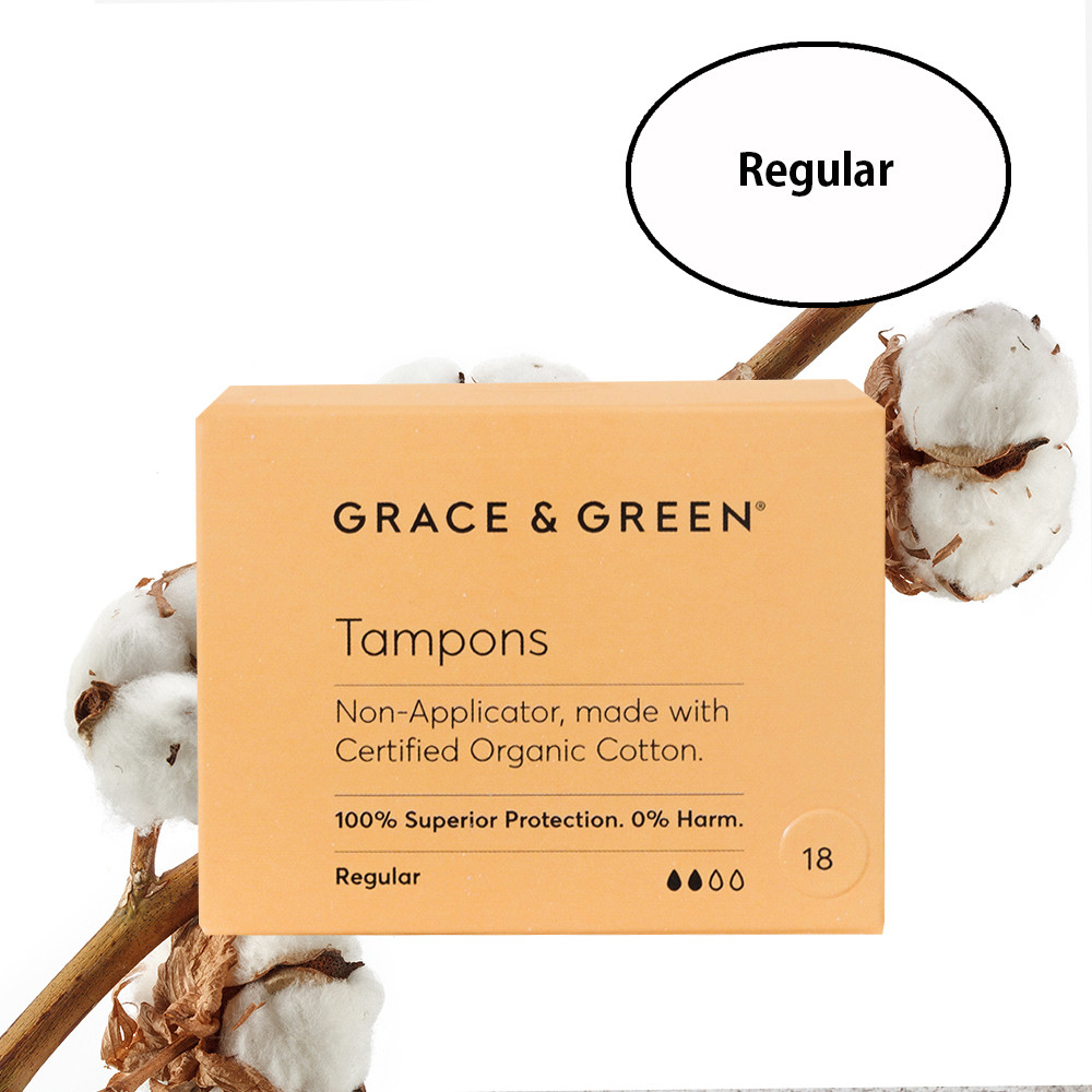 Grace & Green Organic Cotton Tampons Regular (18 in Box)