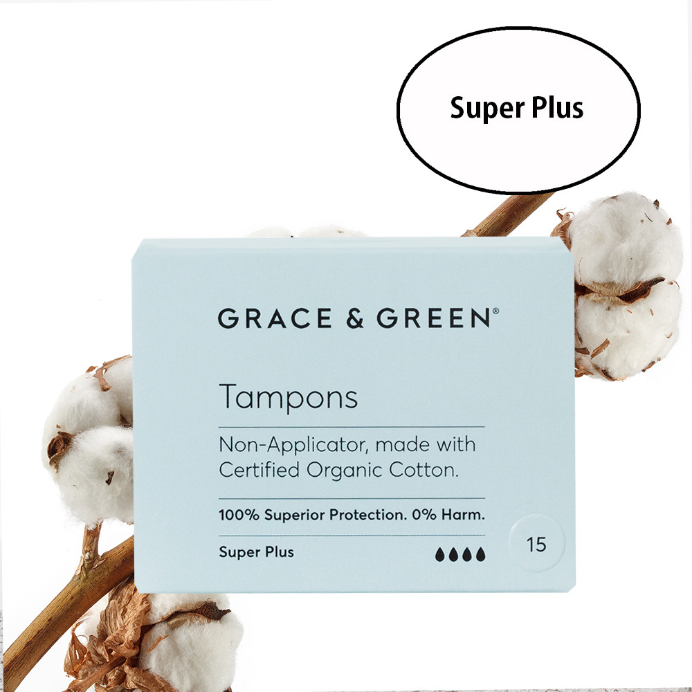 Grace & Green Organic Cotton Tampons Super Plus (15 in Box)