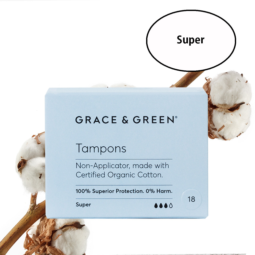 Grace & Green Organic Cotton Tampons Super (18 in Box)