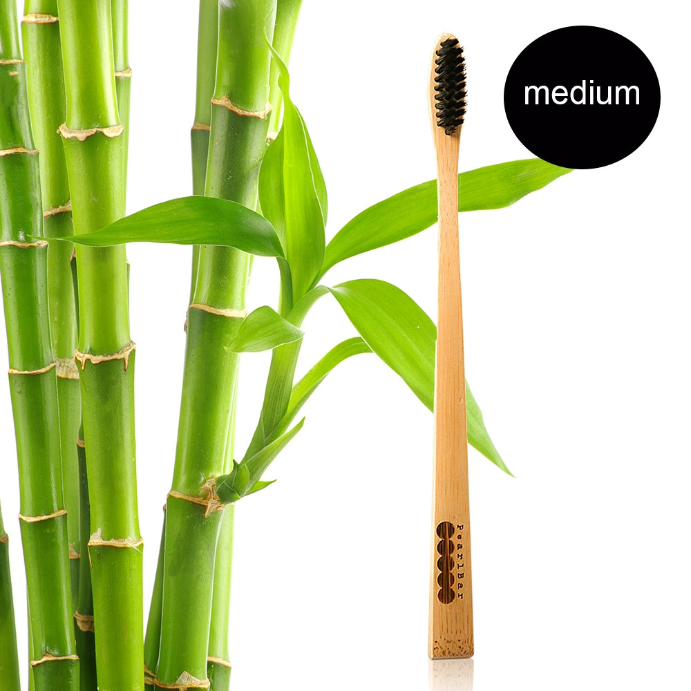 PearlBar Adult - 100% Biodegradable, Bamboo, Charcoal Infused Toothbrush Medium