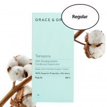 Grace & Green Organic Cotton Applicator Tampons Regular (16 in Box)