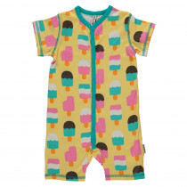 Maxomorra Ice Cream Yellow Rompersuit Short Sleeved