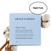 Grace & Green Organic Cotton Night Pads (10 in Box)