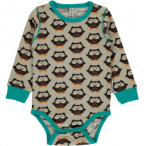 Maxomorra Owl Bodysuit Long Sleeved