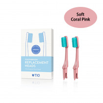 TIO Toothbrush Replacement Heads Coral Pink - Soft (2 Pack)