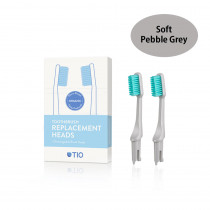 TIO Toothbrush Replacement Heads Pebble Grey - Soft (2 Pack)