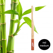 Hydrophil Adult - Biodegradable, Bamboo Toothbrush Red - Medium